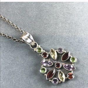 Vintage Sterling Silver Gemstone flower necklace